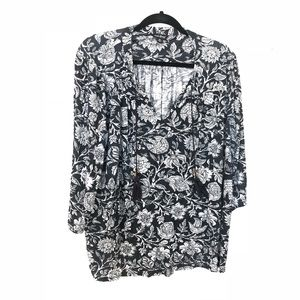 Lucky Brand Floral Boho Top Tassel Tie 3X
